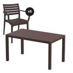 Zestaw ogrodowy Artemis stół 140 x 80 cm + 6 krzeseł kolor brązowy