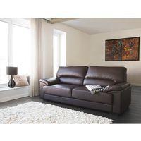 Sofa brązowa - trzyosobowa - kanapa - skóra ekologiczna - VOGAR