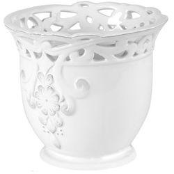 Osłonka doniczki wewnętrzna koronka 13 cm biała, 47.001.13