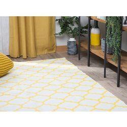 Beliani Dywan żółty 160 x 230 cm wzór marokańskiej koniczyny dwustronny aksu (4251682212601)