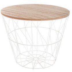 Nowoczesny, wielofunkcyjny stolik kawowy, z okrągłym blatem, ażurową konstrukcją, miejscem do przechowywania, kolor biały marki Atmosphera créateur d'intérieur