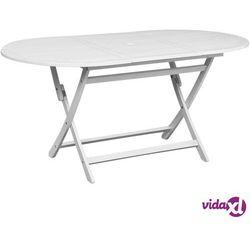 vidaXL Stół ogrodowy, biały, 160x85x75 cm, lite drewno akacjowe, kolor biały