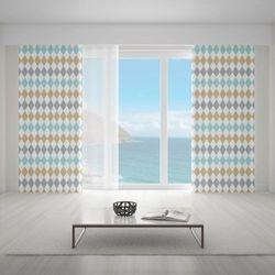 Zasłona okienna na wymiar - OLD-TIME RHOMBOIDS SANDY