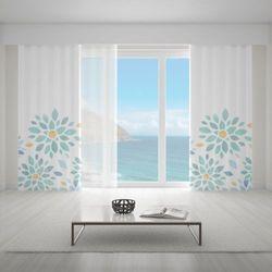 Zasłona okienna na wymiar - VINTAGE FLOWERS TURQOUISE