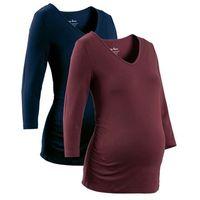 Shirt ciążowy z rękawami 3/4 (2 szt.), bawełna organiczna  ciemnoniebieski + czerwony klonowy marki Bonpri