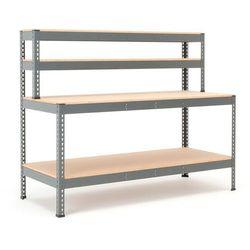 Stół warsztatowy combo, z półką dolną i nadstawką, 1840x775x1530 mm marki Aj produkty