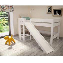 Białe łóżko ze zjeżdżalnią Lara F26