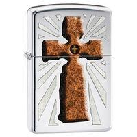 Zippo Zapalniczka  kamienny krzyż, high polish chrome