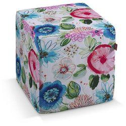 Dekoria Pufa kostka twarda, kolorowe kwiaty na białym tle, 40x40x40 cm, New Art