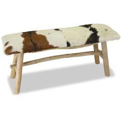 Vidaxl ławka, prawdziwa skóra, drewno tekowe