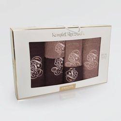 Komplet ręczników 6 szt. wzór monogram czekolada/cynamon marki Zwoltex