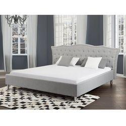Łóżko szare - 160x200 cm - łóżko tapicerowane ze stelażem - METZ (7081451622440)