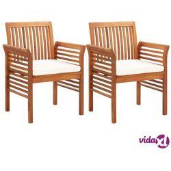 vidaXL Krzesła ogrodowe z poduszkami, 2 szt., lite drewno akacjowe