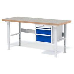 Stół warsztatowy SOLID, z 3 szufladami, 500 kg, 1500x800 mm, winyl