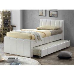 Vente-unique Łóżko wysuwane andrea - 2 × 90 × 190 cm - materiał skóropodobny biały