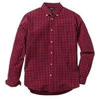 Bonprix Koszula z długim rękawem regular fit  czerwono-ciemnoniebieski w kratę