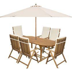 Fieldmann  meble ogrodowe carmen 6s + poduszki kremowe + parasol kremowy