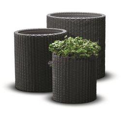 Zestaw doniczek cylindrycznych w 3 rozmiarach - Antracytowy, produkt marki Keter
