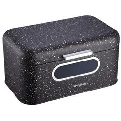 Kinghoff Chlebak /pojemnik na chleb kuferek mały z szybką marmur czarny