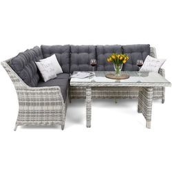 Narożnik technorattanowy alicante light grey / grey marki Home & garden