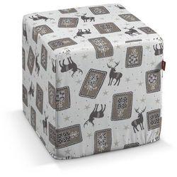 Dekoria Pufa kostka, szaro-beżowe renifery na jasnym tle, 40 × 40 × 40 cm, Christmas, kolor beżowy