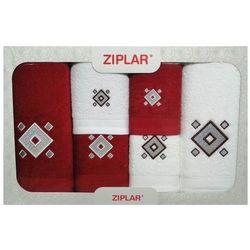 Komplet ręczników 6 szt. bordowy/biały marki Ziplar