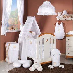 MAMO-TATO Pościel 5-el haft Miś na chmurce w bieli do łóżeczka 60x120cm - tkanina