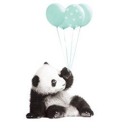 Naklejka ścienna Dekornik - Panda z balonami mięta (70x115)