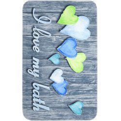 """Dywaniki łazienkowe """"Love my bath"""", pianka memory bonprix niebieski"""