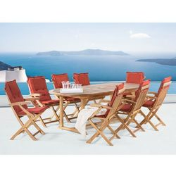 Meble ogrodowe - stół rozkładany - 8 krzeseł terracotta poduszki - java wyprodukowany przez Beliani