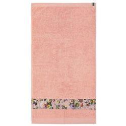 Elegancki ręcznik bawełniany różowy z ozdobnym motywem kwiatowym, ręcznik luksusowy, , 70 x 140 cm marki Essenza