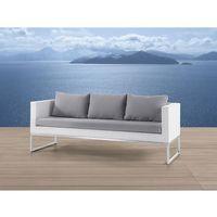 Sofa ogrodowa biała - Trzyosobowa - stal szlachetna i rattan - CREMA, kolor biały
