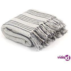 Vidaxl bawełniana narzuta w paski, 160 x 210 cm, szaro-biała
