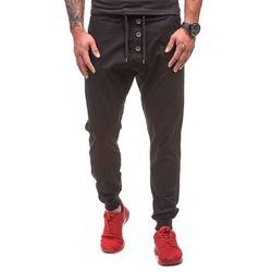 Czarne spodnie joggery męskie Denley 0472 - CZARNY, kolor czarny