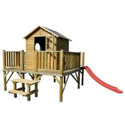 4iq Drewniany domek ogrodowy dla dzieci maciej ze ślizgiem