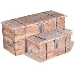 skrzynia z drewna akacjowego, 2 szt. marki Vidaxl