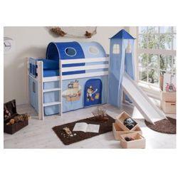 Ticaa łóżko ze zjeżdzalnią kasper pirat drewno sosnowe kolor niebieski, marki Ticaa kindermöbel