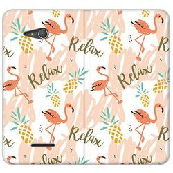 Flex book fantastic - sony xperia e4g - etui na telefon flex book fantastic - różowe flamingi od producenta