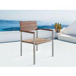 Krzesło ogrodowe - stal nierdzewna - drewno tekowe - VIAREGGIO - oferta [25b464203535d25d]