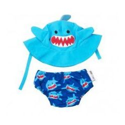 Zestaw plażowy pieluszka kąpielowa czapka rekin upf 50+,  wyprodukowany przez Zoocchini