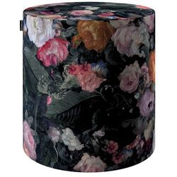 puf barrel, wielobarwne kwiaty na ciemnym tle, ø40, wys. 40 cm, gardenia marki Dekoria