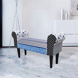 vidaXL Patchworkowa ławka, wiejski styl niebiesko-biała