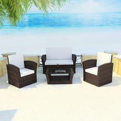 vidaXL Zestaw brązowych mebli ogrodowych z poduszkami z kategorii Zestawy ogrodowe