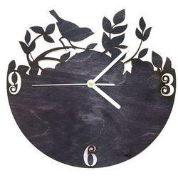 Drewniany zegar na ścianę ptaszek na gałązce z białymi wskazówkami marki Congee.pl