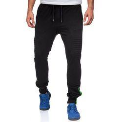 Czarne spodnie dresowe baggy męskie Denley 0493 - CZARNY
