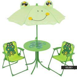 SELSEY Zestaw ogrodowy Żabki stolik z dwoma krzesełkami i parasolem (5903025284057)