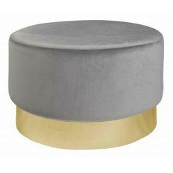 Szaro-złota pufa tapicerowana okrągła - Kobar, 40728