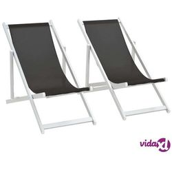 składane krzesła plażowe, 2 szt., aluminium i textilene, czarne marki Vidaxl