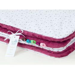 kocyk minky dla dzieci 100x135 mini gwiazdki szare na bieli / burgund marki Mamo-tato