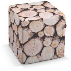 pufa kostka twarda, motyw drewna, 40x40x40 cm, norge marki Dekoria